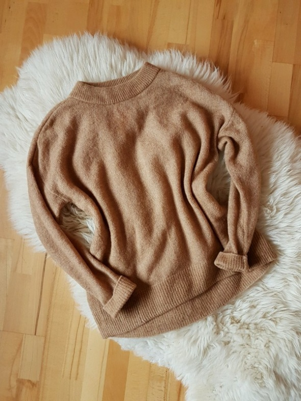 H&M sweter Beżowy Beige Oversize Camel