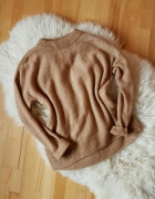 H&M sweter Beżowy Beige Oversize Camel...