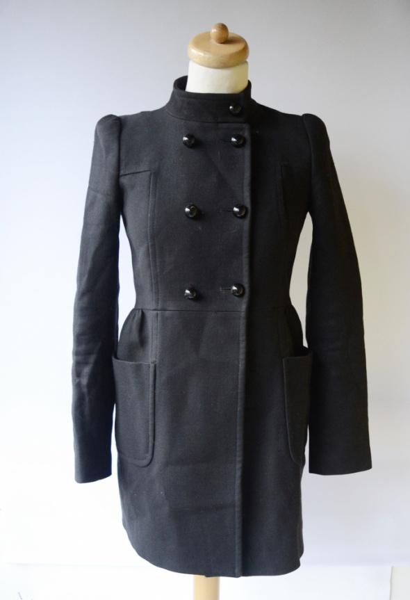 Płaszcz Czarny Militarny Zara Woman S 36 Wełna Wełniany Elegancki