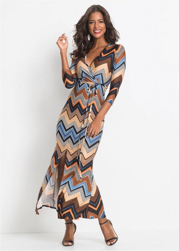 sexy paski maxi długa sukienka dekold kopertowy 36 38...