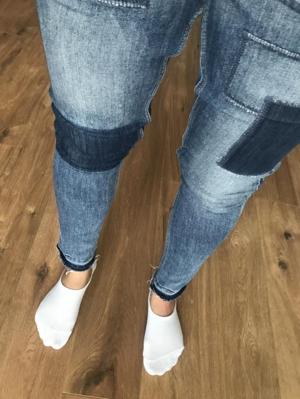 Spodnie jeansowe rurki z naszyciami H&M Denim skinny