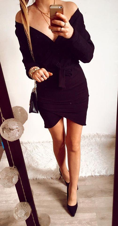 Sukienka Damska elegancka czarna SM