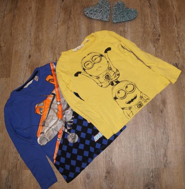 Zestaw chłopiec bluzki długi rękaw Dusty Minionki H&M rozm 122 do 128
