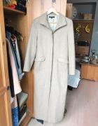 Bezowy płaszcz do kostek wełna wełniany 36 S beż...