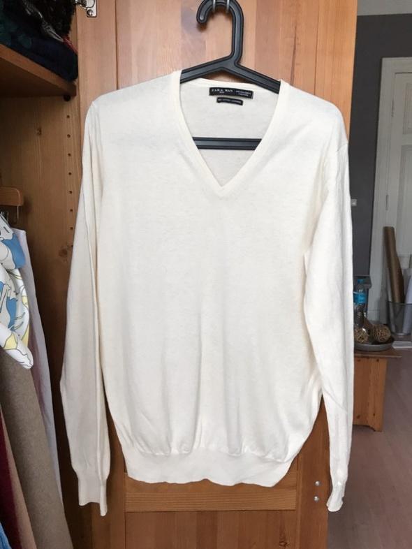Sweter cienki Zara Man L jedwab kaszmir bawełna