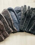 Rękawiczki skórzane damskie z palcami czarne...