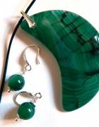 Zielony półksiężyc z agatu zestaw w srebrze...