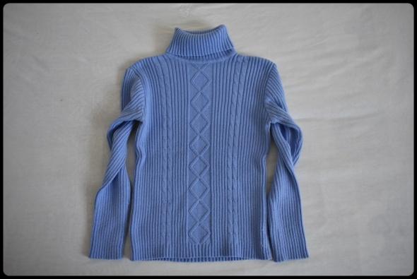 Niebieski sweter damski z golfem rozmiar 38 M