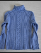 Niebieski sweter damski z golfem rozmiar 38 M...