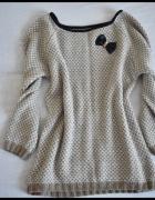 Beżowy sweter z kokardką stan bdb mięciutki 38 M...