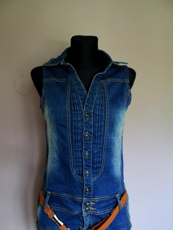 Suknie i sukienki Śliczna jeansowa sukienka z paskiem