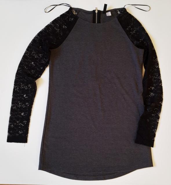 H&M Elegancka dzianinowa sukienka z koronkowymi rękawami L