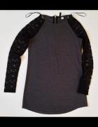 H&M Elegancka dzianinowa sukienka z koronkowymi rękawami L...
