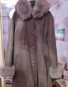 Ciepły kożuch płaszcz damski naturalny futro lis baran...