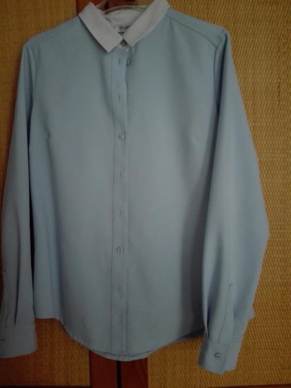 Błękitna elegancka koszula z białym kołnierzem