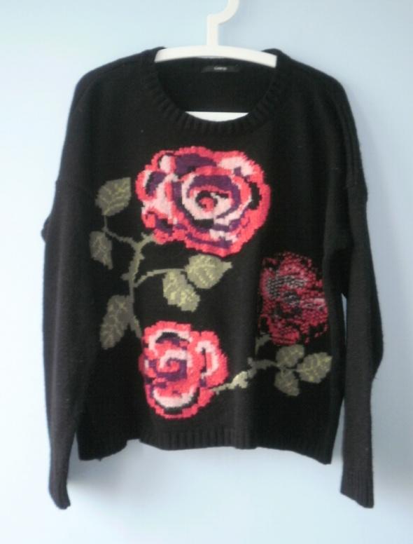 George sweter oversize czarny floral róże kwiaty...