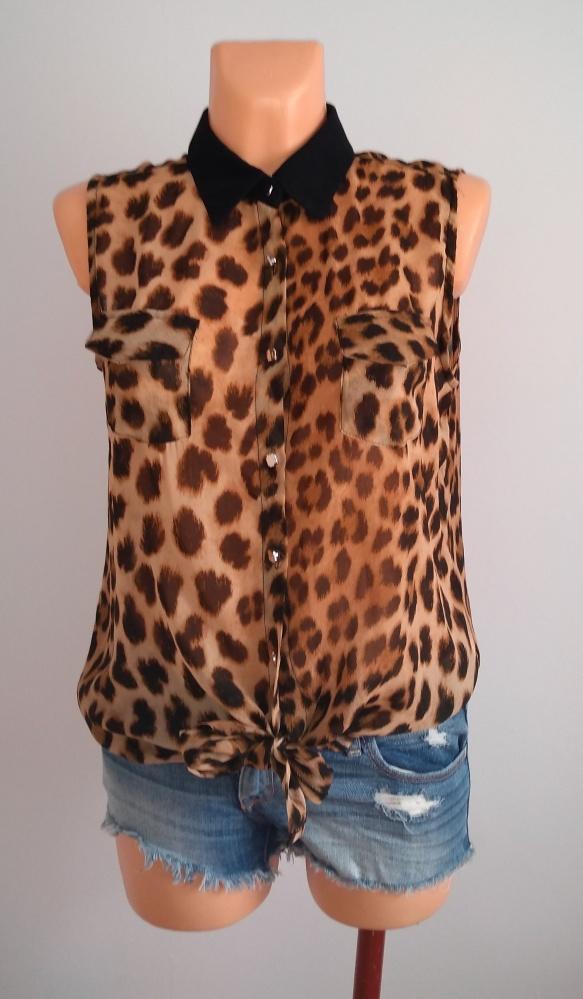 Koszule Bluzka w panterkę mgiełka koszula