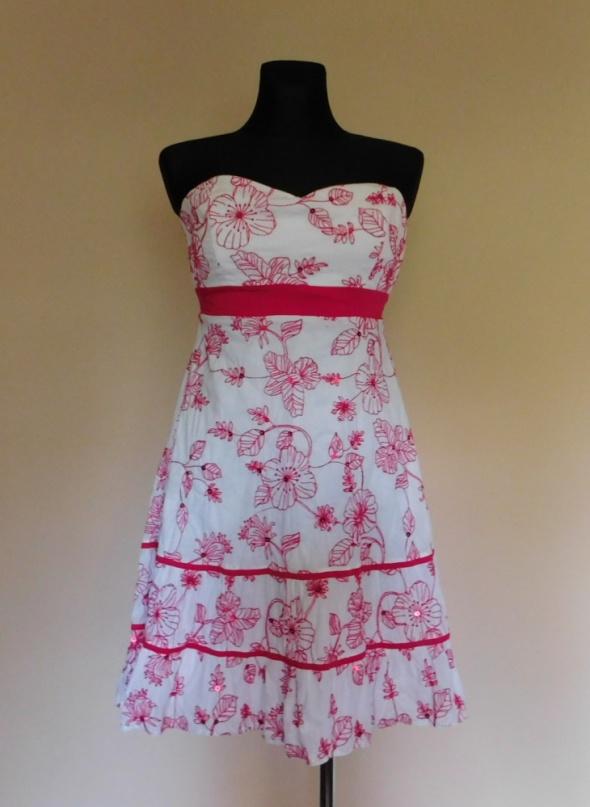 Bay sukienka biała kwiaty 40 42