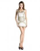 Sukienka koronkowa złote hafty złoto biel piękna...