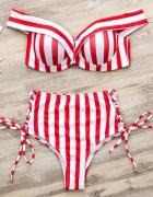 Bikini czerwone push up paski wysoki stan...