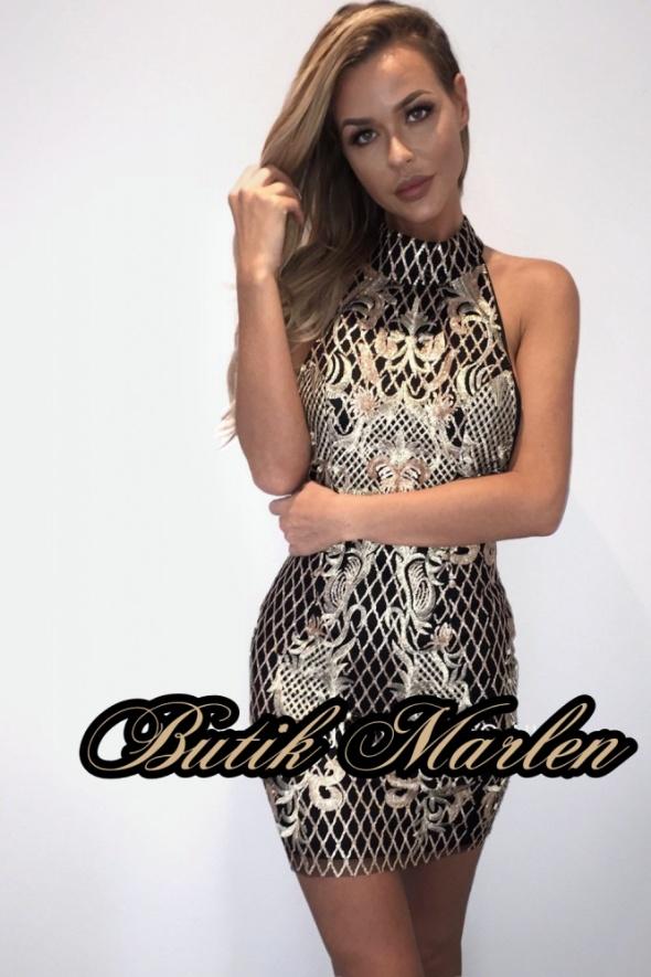 Sukienka hafty złote brokat siwiec doda