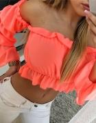 Bluzeczka hiszpanka neon koral mega...