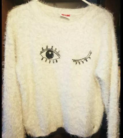 GRATIS wysylka S 36 bialy sweter milutki cieplusi
