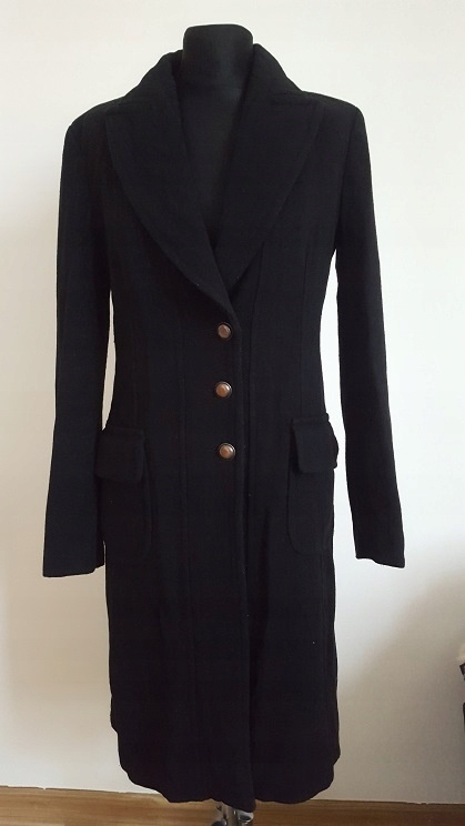 TARA JARMON elegancki płaszcz wełna Francja 36 S