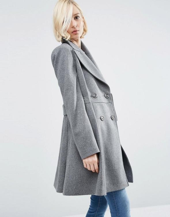 Płaszcz rozkloszowany szary Xs S ASOS