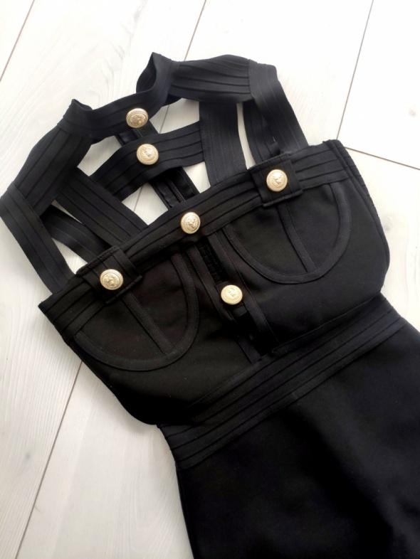 Suknie i sukienki Sukienka czarna złote napy bandage choker