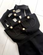 Sukienka czarna złote napy bandage choker...