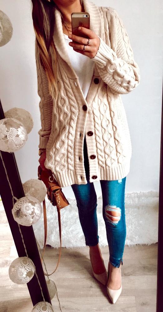 Sweter Damski rozpinany ciepły H&M r