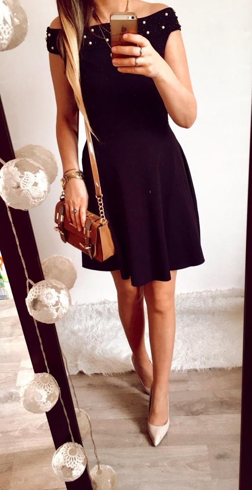 Sukienka Damska czarna cyrkonie M