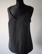 Czarna dwumateriałowa koszulka top na ramiączkach bieliźniany 3...