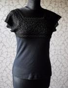 Czarna bawełniana koszulka bokserka z koronką basic jak gotycka...