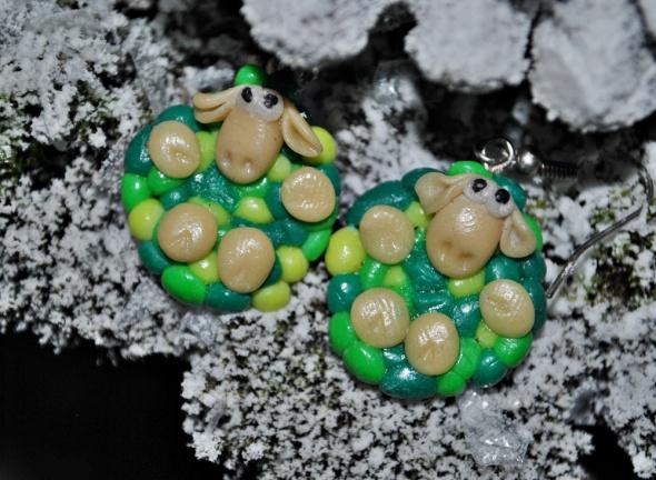 Zabawne Śmieszne Kolczyki Kolorowe Owieczki Owce Modelina Fimo Handmade Prezent Gwiazdka Święta