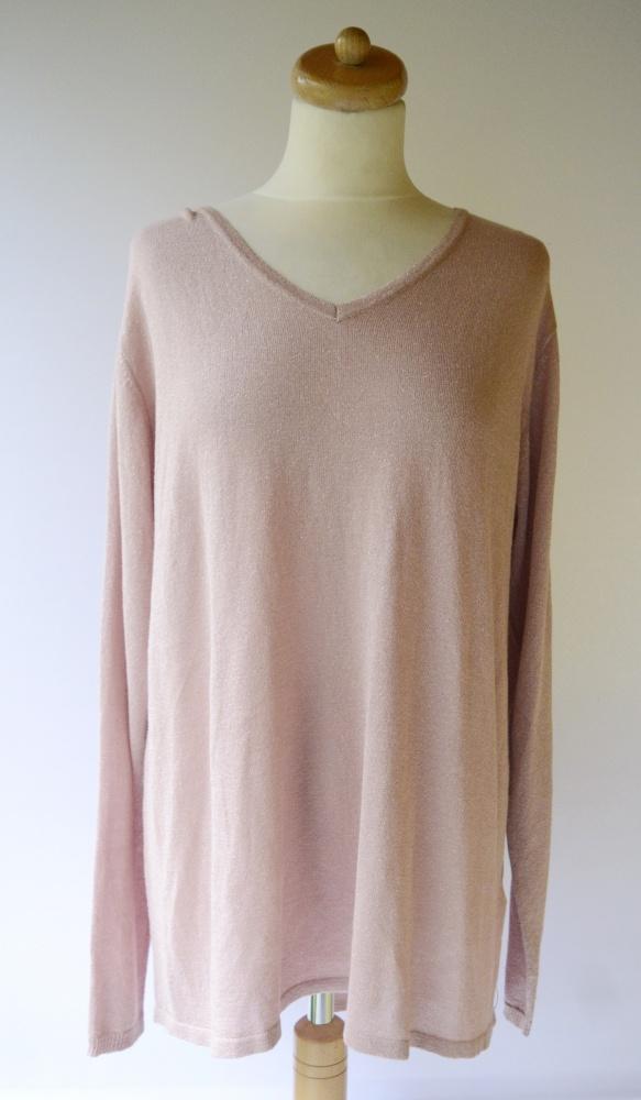 Sweter Różowy Srebrna Nitka Ellos 46 48 3XL 4XL Oversize Dłuższy Tył