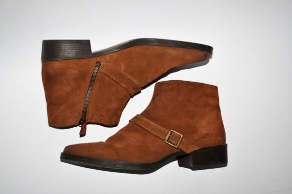 Zara Basic sztyblety botki zamsz skóra camel brąz