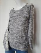 Sweter bluza Zara szary melanż 38 40 koronka...