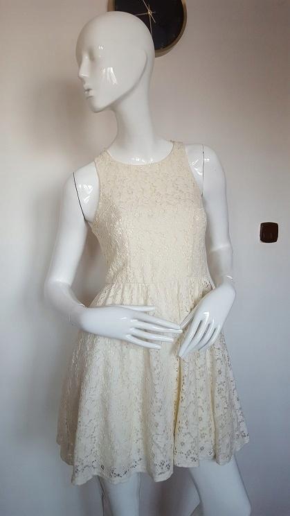 New look koronkowa elegancka rozkloszowana sukienka 38 M S