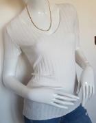 Zara biała prążkowana klasyczna bluzka S m