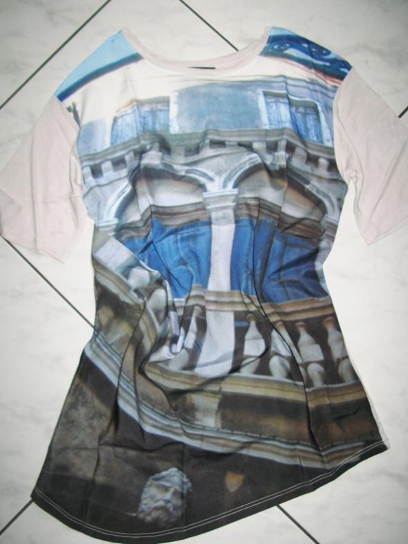 ZARA niebieska bluzka dam antyczny wzór roz 36