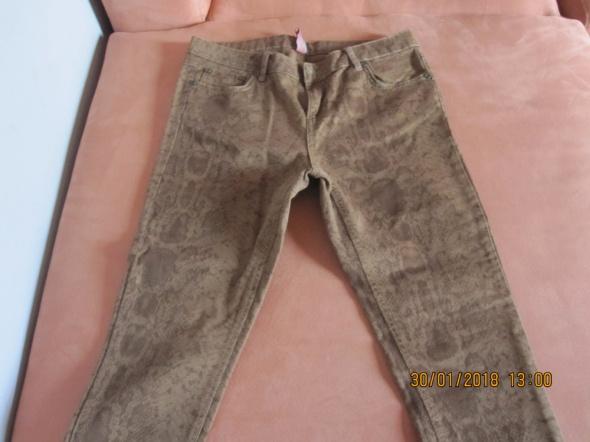 Brązowe jeansy z wężowym nadrukiem L