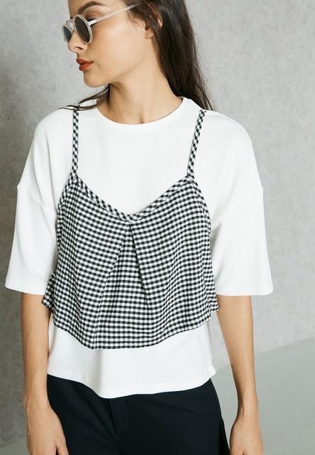 Mango tshirt oversize łączony z topem XS S