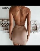 sukienka spaghetti strap strappy 36 S mała czarna naked dress...