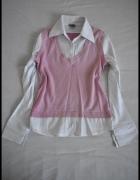 Koszula i kamizelka komplet 2w1 pudrowy róż rozmiar 38...