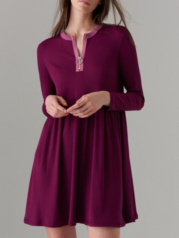 Mohito 36 S NOWA sukienka baby doll zip fiolet...