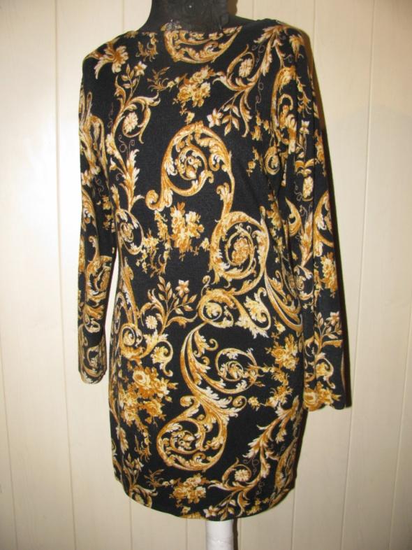 Suknie i sukienki M&S CZARNA SUKIENKA W CIEKAWY ŻÓŁTY DESEŃ DZIANINA 38 40 42