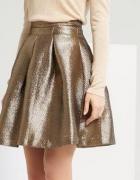 Reserved metaliczna złota spódnica rozkloszowana XS...