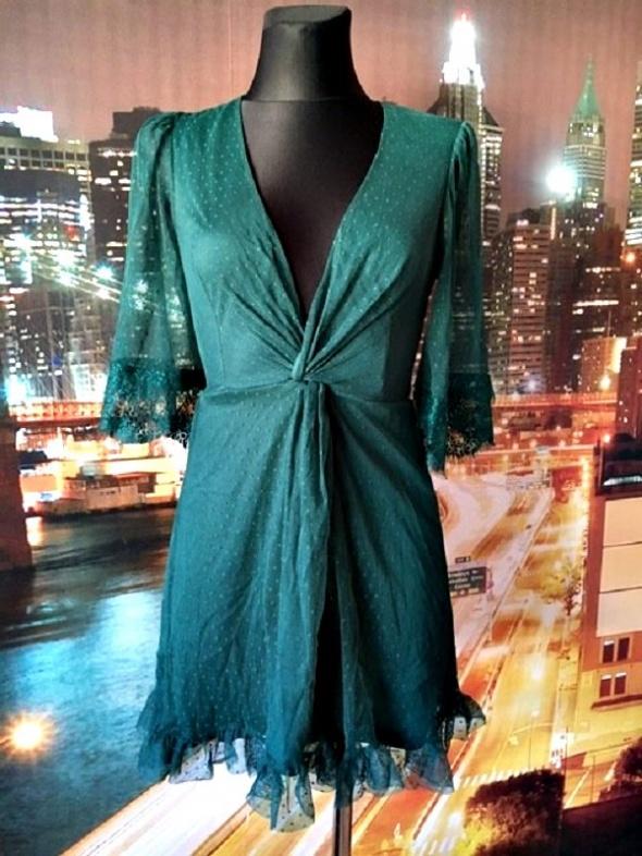asos sukienka butelkowa zieleń siateczka koronka hit 34